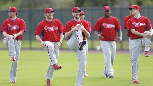 Phillies+pitching+staff+stretches+during+spring+training+in+Clearwater%2C+FL