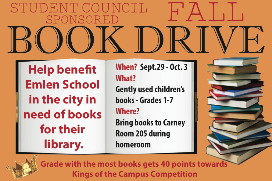Student+Council+Collects+Books+for+a+Good+Cause