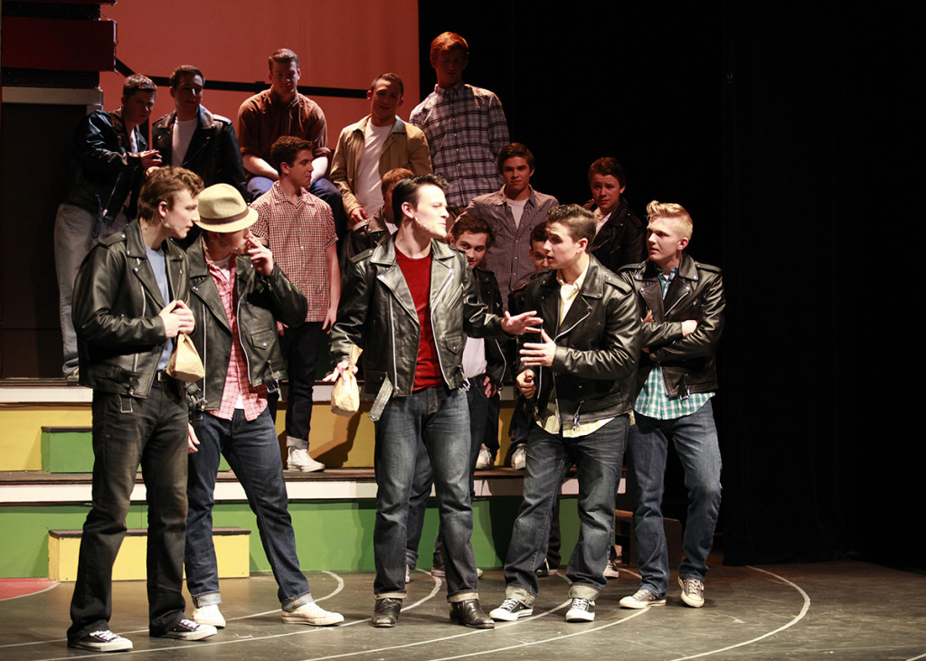 Danny+Zuko+%28Daubney%29+and+the+boys+at+Grease+%2F+R.+Colameco