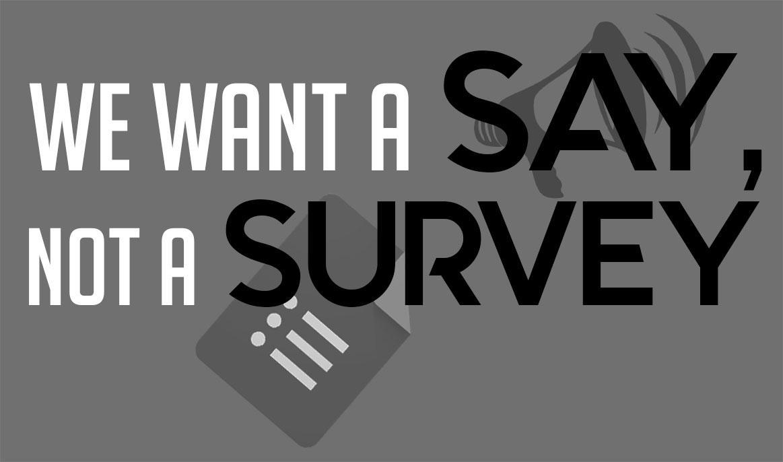 We want a say, not a survey