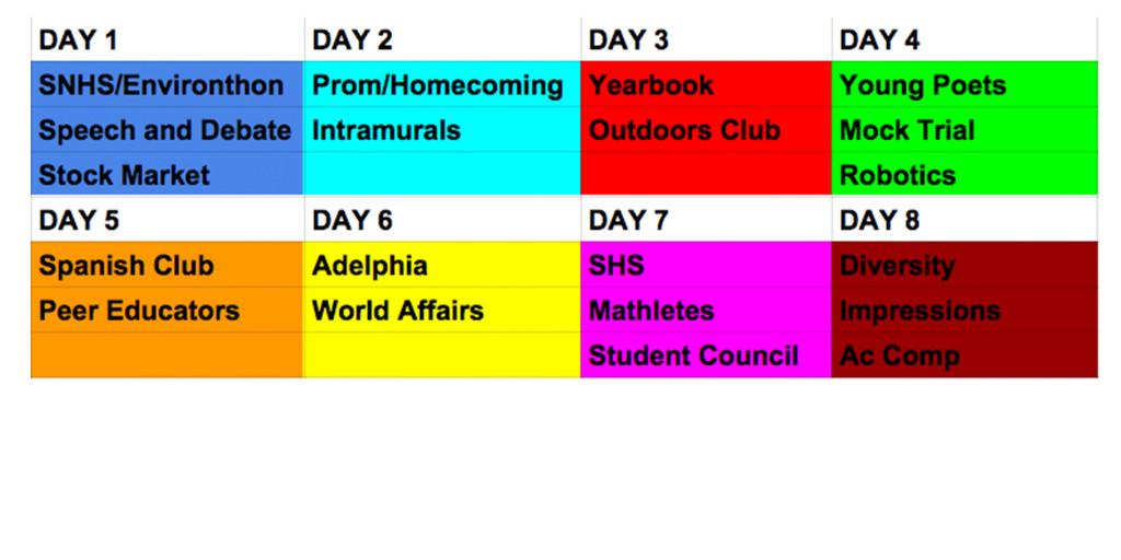 New+activities+schedule+implemented