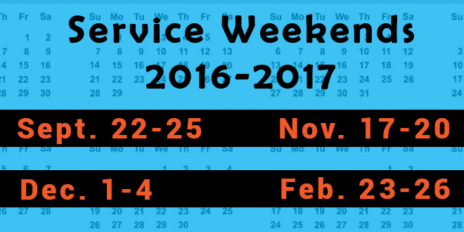 Four Christian Service weekends ahead in 2016-17